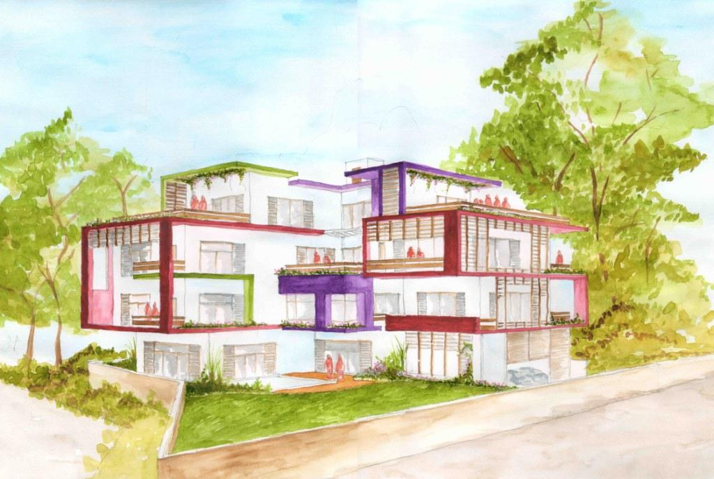 Hand Sketched View Of The House Designed By SDM Architects, Bandra West,  Mumbai